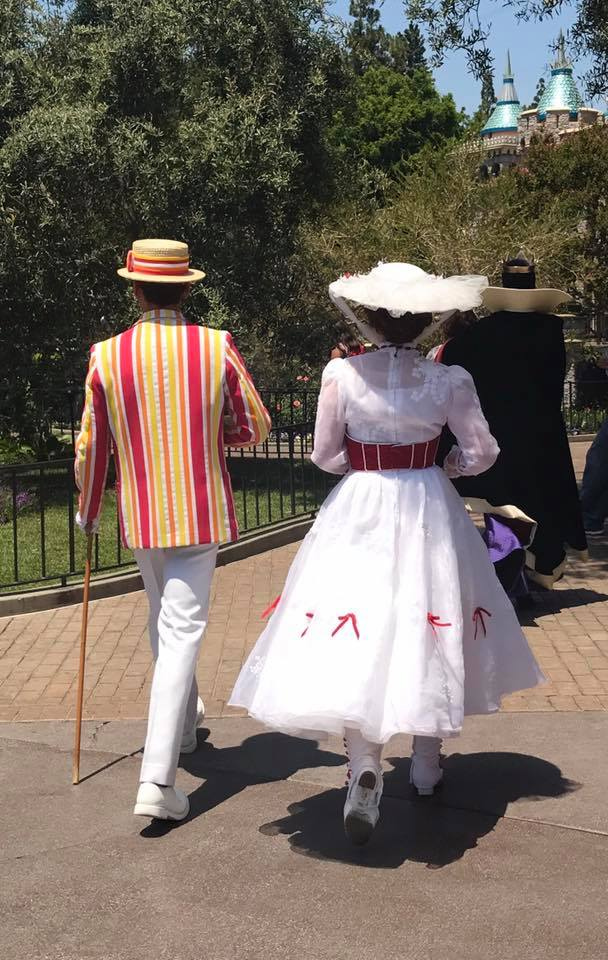 Mary Poppins and Burt walking away